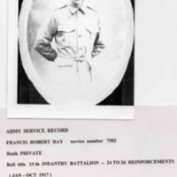 Francis Robert Ray military service in WW1