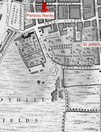 Lawrence Wade - map of crime area (Perkins Rents, Tothill Fields, St John's Church)