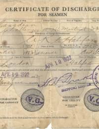Brooker, Frederick 1884-1962 seaman discharge certificate 1922